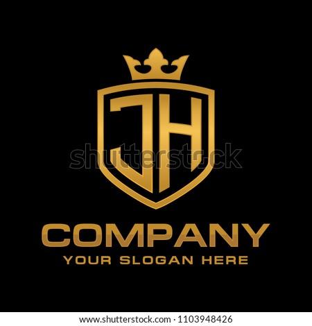 Letter JH initial logo, Luxury logo design vector