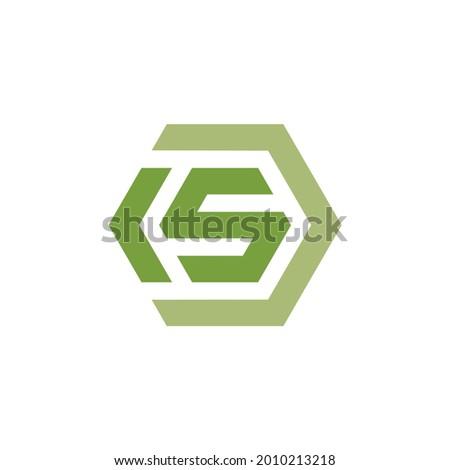 Letter K and S with Hexagonal Shape icon. KS, CS Logo design. Vector Illustration. Stock fotó ©