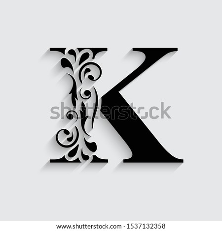 letter K. Black flower alphabet.  Beautiful capital letters with shadow Stock fotó ©