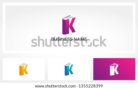 Letter K Book Cover Pages Logo Foto stock ©