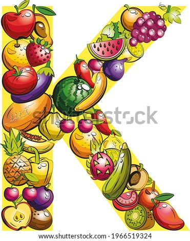 letter  K. Fruit letters. Collage of colored fruits and vegetables on the letter of the alphabet Stock foto ©
