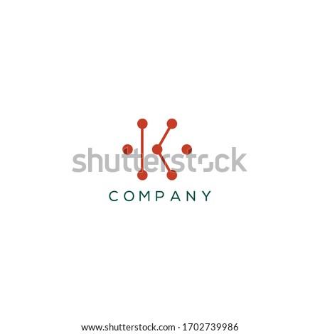 Letter K logo design template, Creative Minimal Alphabet K letter Symbol for any kinds of Corporate Business Identity,  Stock fotó ©