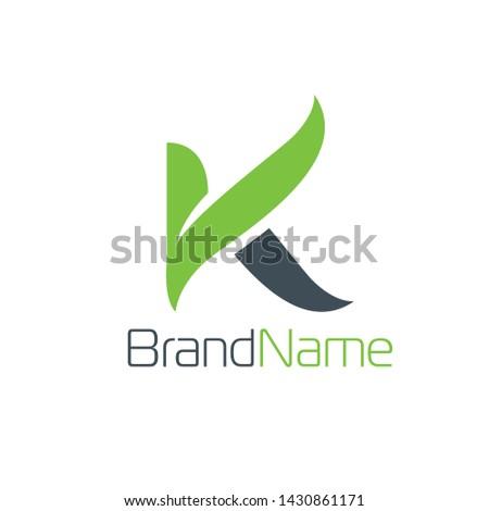 Letter K logo formed leaf in green color Stock fotó ©