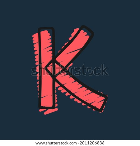 Letter K logo hand-drawn with felt-tip and marker strokes. Perfect to use in any comic strip pages, preschool posters, cute identity, etc. Stock fotó ©