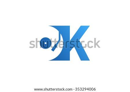 letter k logo  record vinyl