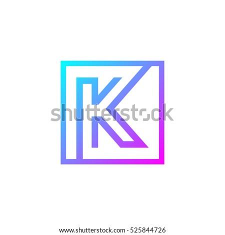 letter k logo square shape