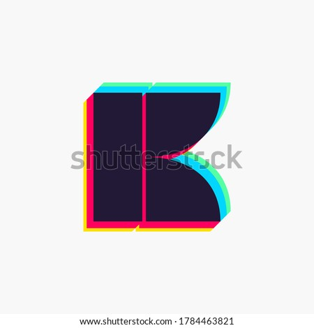 Letter K logo with stereo effect. Vibrant glossy colors font perfect to use in any disco labels, dj logos, electromusic posters, bright identity, etc. Stock fotó ©
