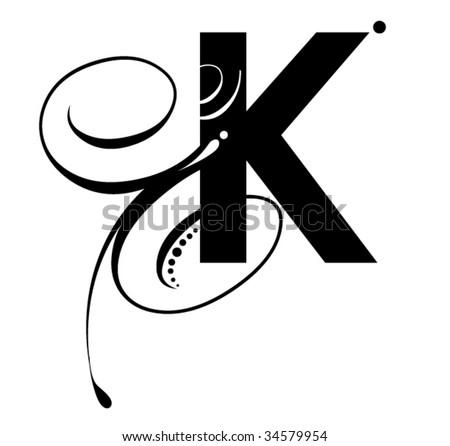 K Initial Tattoos Letter K - Modern Initial