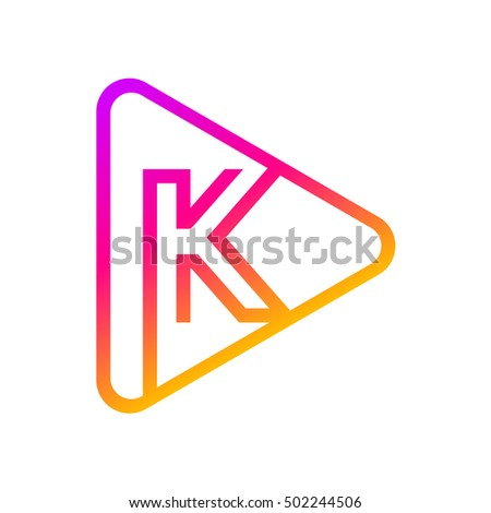 letter k rounded triangle line