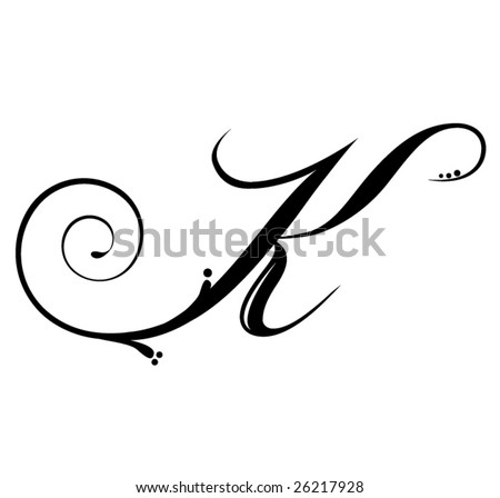 Tatto Lettering on Letter K   Script Stock Vector 26217928   Shutterstock