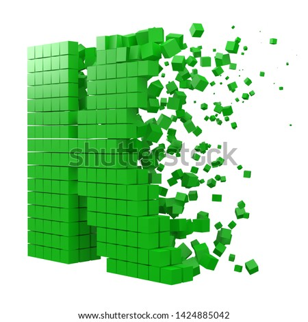 letter K shaped data block. version with green cubes. 3d pixel style vector illustration. suitable for blockchain, technology, computer and abstract themes. Stock fotó ©
