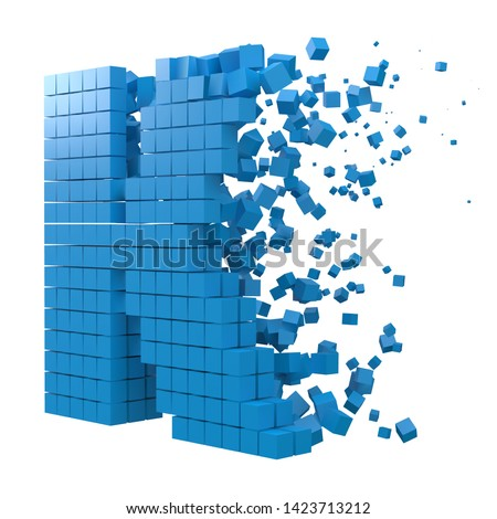 letter K shaped data block. version with red cubes. 3d pixel style vector illustration. suitable for blockchain, technology, computer and abstract themes. Stock fotó ©
