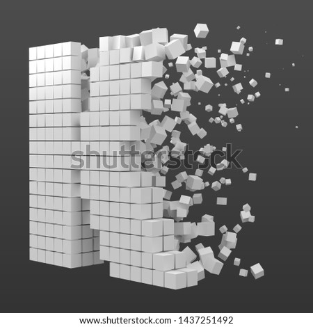 letter K shaped data block. version with white cubes. 3d pixel style vector illustration. suitable for blockchain, technology, computer and abstract themes. Stock fotó ©