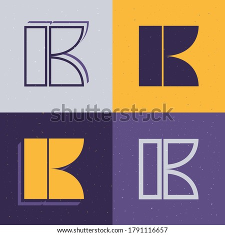 Letter K stencil logo set. Flat icons perfect to use in any military labels, sport logos, graffiti posters, construction identity, etc. Stock fotó ©