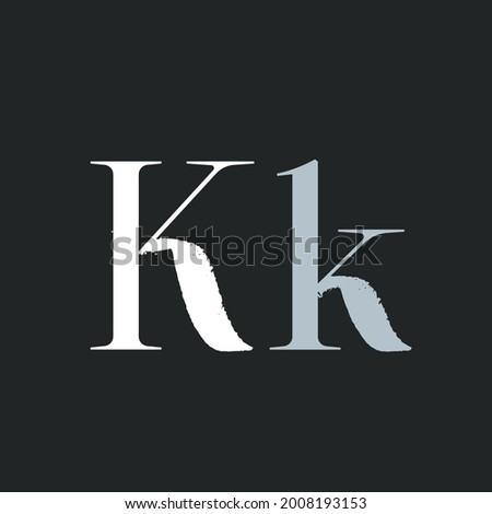 Letter K with dry brush stroke and serif. Vintage font with rough edges decoration elements. Perfect to use in any fashion labels, glamour posters, luxury identity, etc. Stock fotó ©