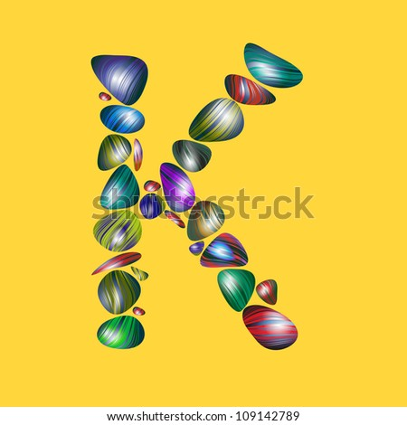 letter K with semiprecious color stones isolated vector ABC book ...
