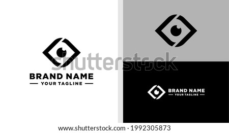 LETTER L AND EYES NEGATIVE SPACE LOGO SIMPLE MODERN EDITABLE Stock fotó ©