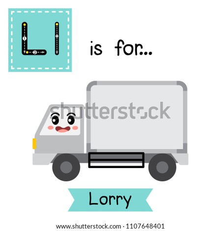 Letter L cute children colorful transportations ABC alphabet tracing flashcard of Lorry for kids learning English vocabula