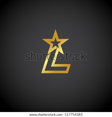 Letter L logo,Gold star sign Branding Identity Corporate unusual logo design template