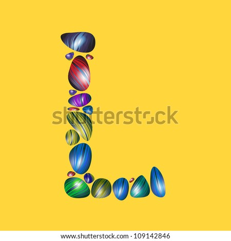 letter L with semiprecious color stones isolated vector ABC book ...