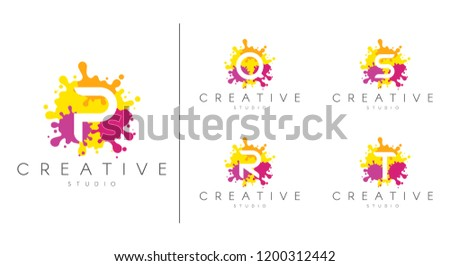 Letter logo set.  Letter design for company name - P, Q, R, S, T.  Set of letter at colorful paint splash background. Stock fotó ©