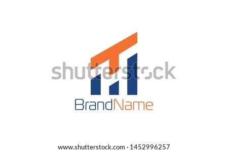 Letter logo T forms negative space of letter H Stock fotó ©
