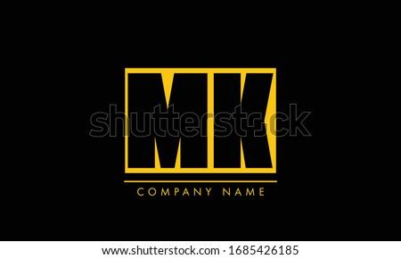 Letter M and K logo or MK initials two modern monogram symbol concept. Creative Line sign design. Graphic Alphabet Symbol for Corporate Business Identity. Vector illustration Stock fotó ©