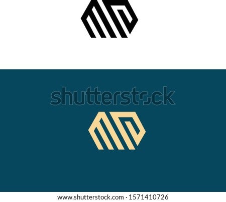 Letter M and letter P forming geometric initials