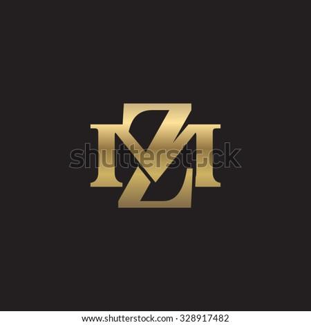 letter M and Z monogram golden logo Stock fotó ©