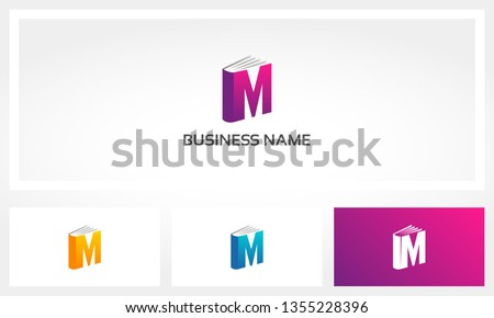 Letter M Book Cover Pages Logo Foto stock ©