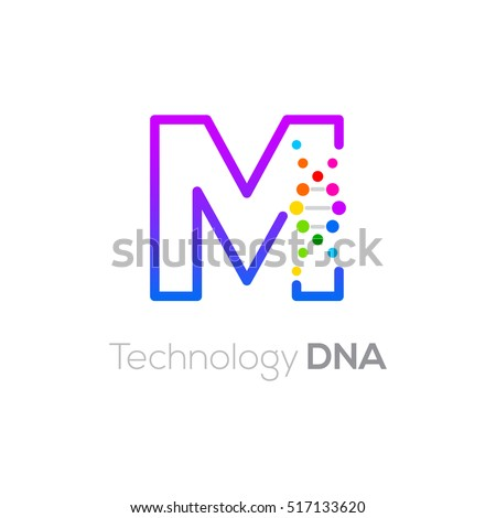 Letter M colorful with abstract biotechnology dna logotype. Medicine, science, laboratory,Technology DNA vector concept Stock fotó ©