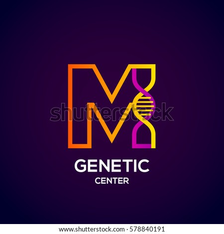 Letter M colorful with abstract Genetic logotype. Medicine, science, laboratory, Technology DNA vector concept Stock fotó ©