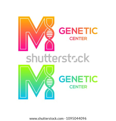 Letter M colorful with DNA structure and genetic biotechnology concept logotype. Helix molecules and chromosomes, Medicine, science, laboratory, Technology Stock fotó ©