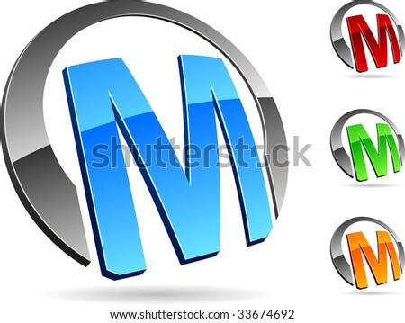 M 3d Logo Letter   M   3d vector icons
