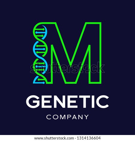 Letter M Genetic DNA vector logo template. Design with chromosome symbol. This logo is suitable for research, science, medical, logotype, technology, lab, molecule, protein, nucleus, spiral. Stock fotó ©
