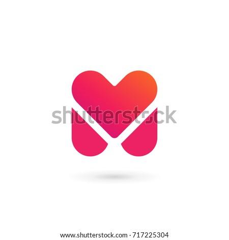 Letter M heart logo icon design template elements