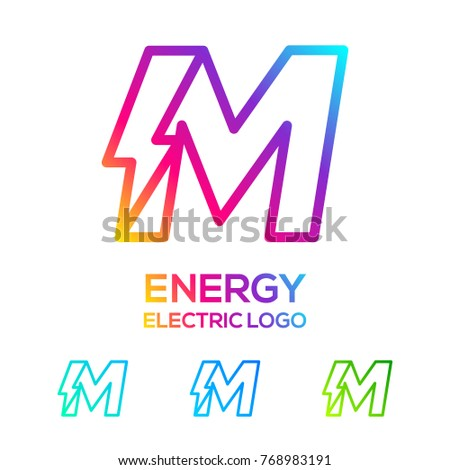 Letter M Line Monogram Colorful logotype with Thunder Electric logo, Energy, Power, Flash, Lighting Bolt concept for your Technology and Digital Corporate identity Stock fotó ©