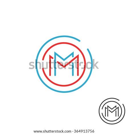 letter m logo circle frame