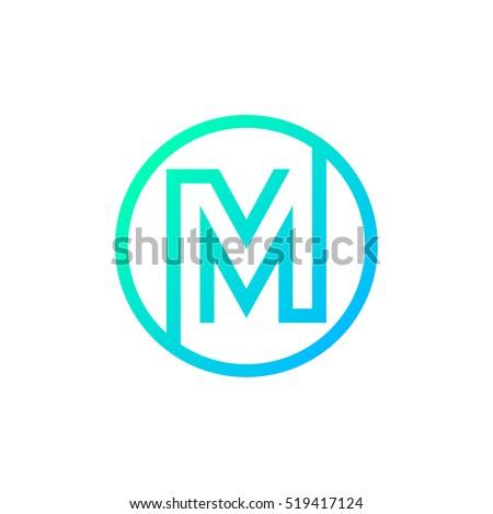 Letter M logo,Circle shape symbol,Digital,Technology,Media