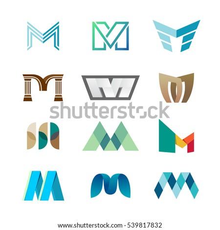 letter m logo set color icon
