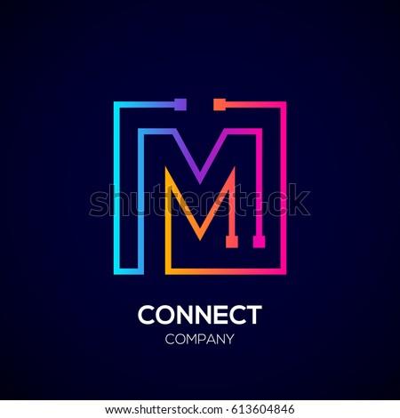 letter m logo  square shape