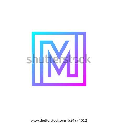 Letter M logo,Square shape symbol,Digital,Technology,Media