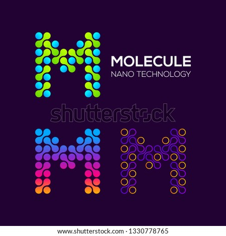 Letter M Logotype with Dots and Curve , Circle Shape and Line Connection, Molecule and Nano Technology logo, Innovation and DNA Icons, Medical Cosmetics Symbols, Science Laboratory Cell Signs Stock fotó ©