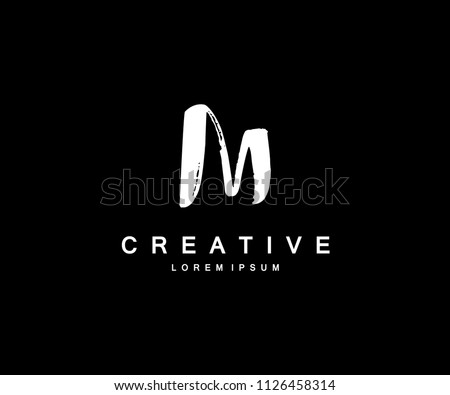 Letter M Minimal Brush Grunge Artistic Logo