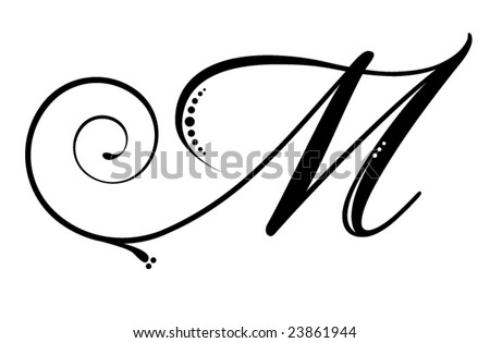 cursive letter m tattoo. stock vector : Letter M -
