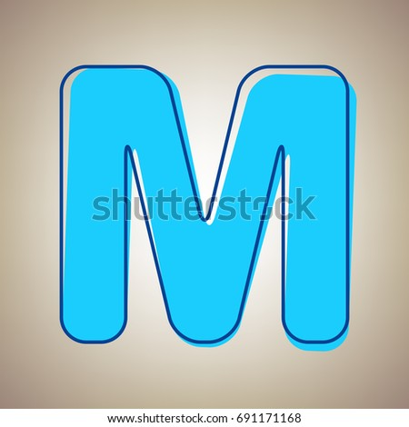 Letter M sign design template element. Vector. Sky blue icon with defected blue contour on beige background. Stockfoto ©