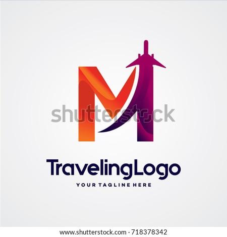letter m travel logo template
