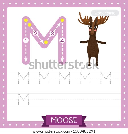 Letter M uppercase cute children colorful zoo and animals ABC alphabet tracing practice worksheet of Moose standing on two legs for kids learning English vocabulary and handwriting vector illustration Stock fotó ©