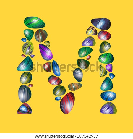 letter M with semiprecious color stones isolated vector ABC book ...