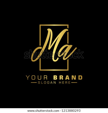 Letter Ma Logo. Gold Letter Design Vector Golden Luxury Colors Stock fotó ©